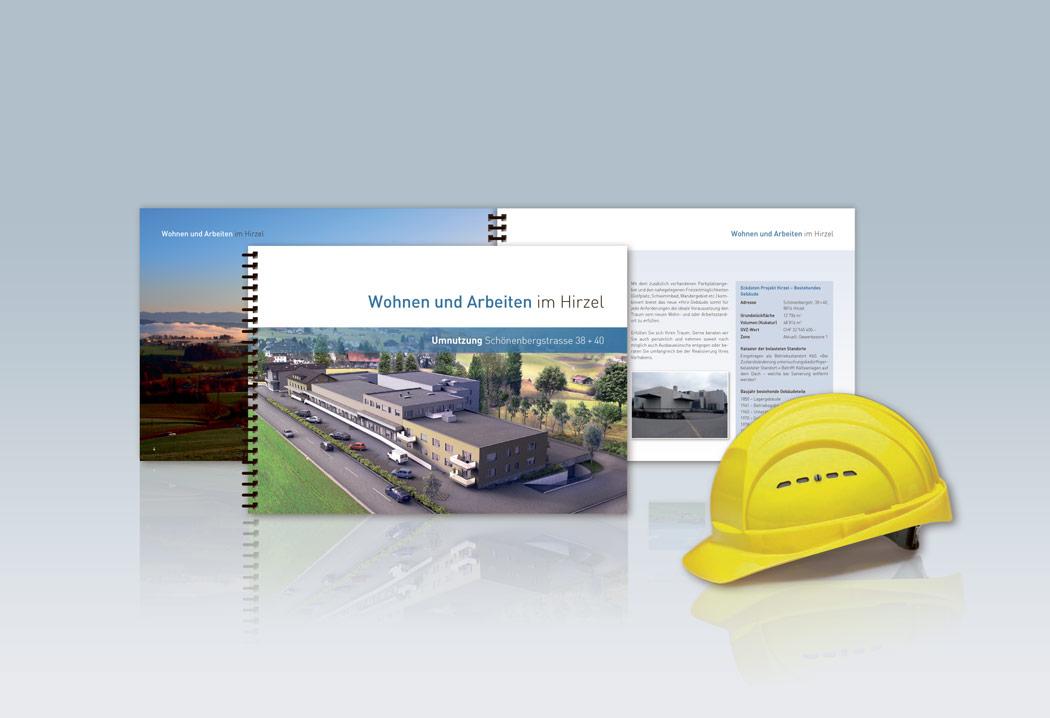 Printdesign Grafikfreelancer – Gestaltung und Layout der Broschüre «Wohnen und Arbeiten im Hirzel».