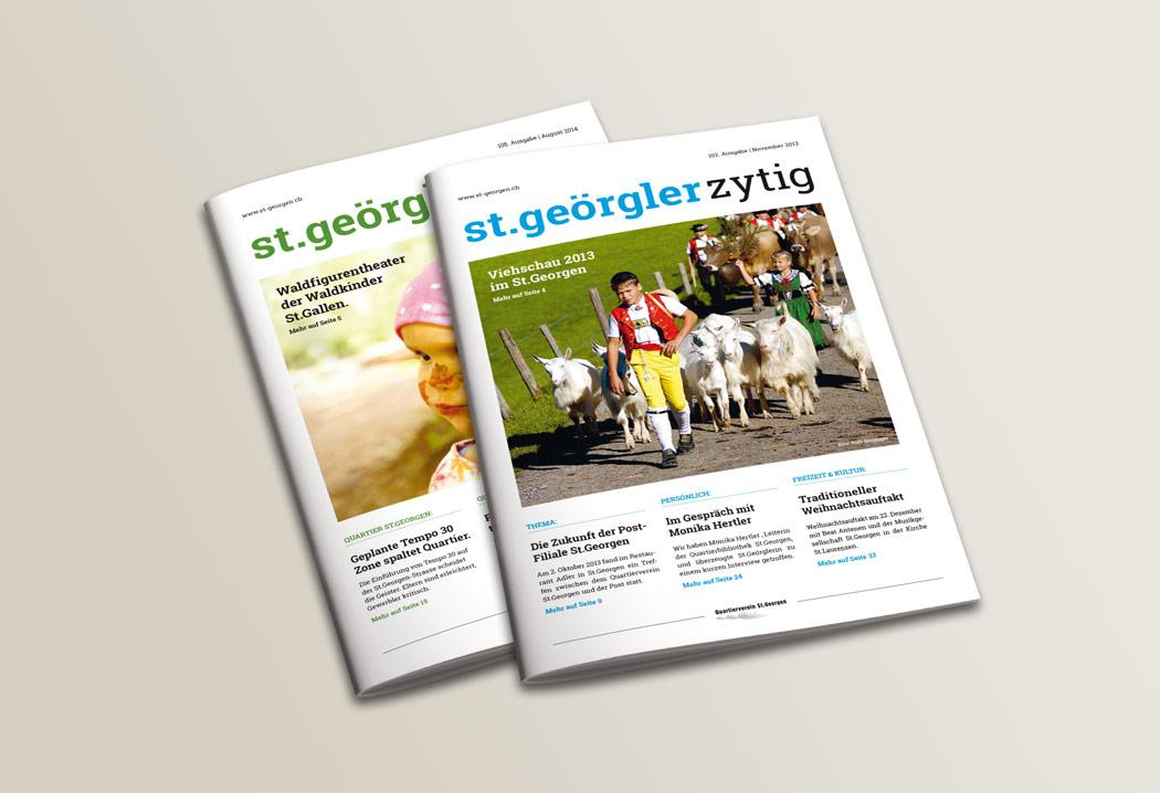 Printdesign Grafikfreelancer – Gestaltung und Layout Quartierzeitung St.Georgen.