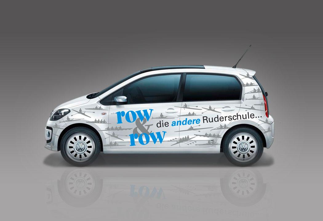 Printdesign Grafikfreelancer – Gestaltung und Konzept Autobeschriftung der row & row Ruderschule in St.Gallen.