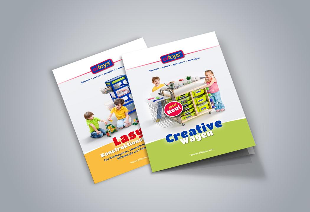 Printdesign Grafikfreelancer – Gestaltung und Layout Flyer für eltoys Kreativwagen und eltoys Lasy.