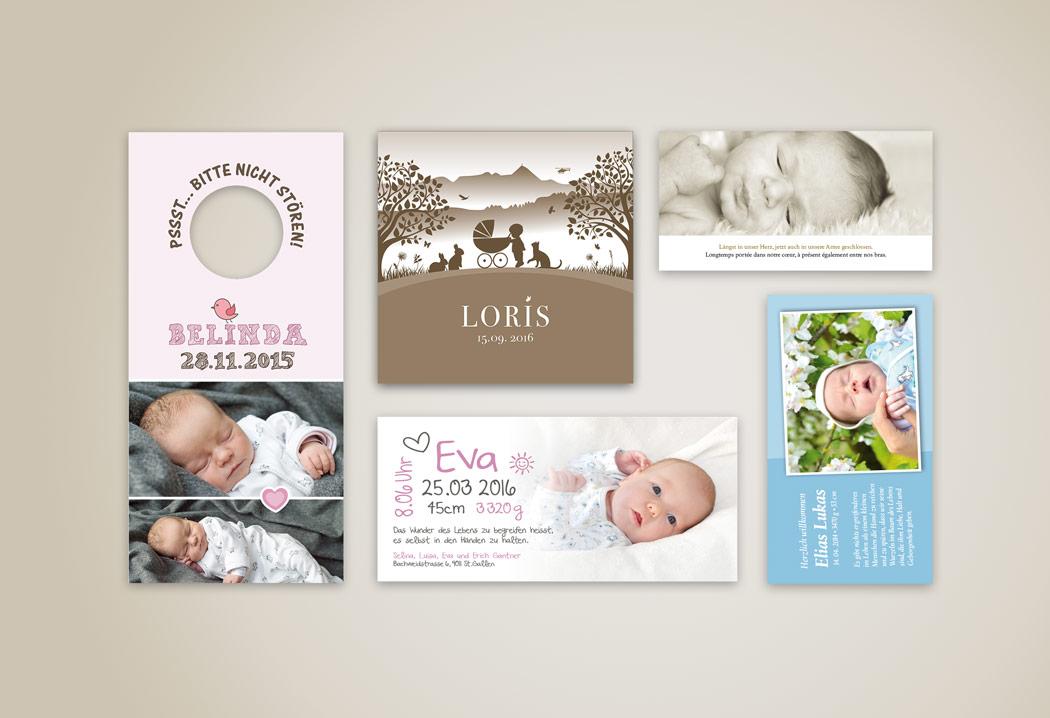 Printdesign Grafikfreelancer – Gestaltung von individuellen Geburtskarten und Hochzeitskarten.