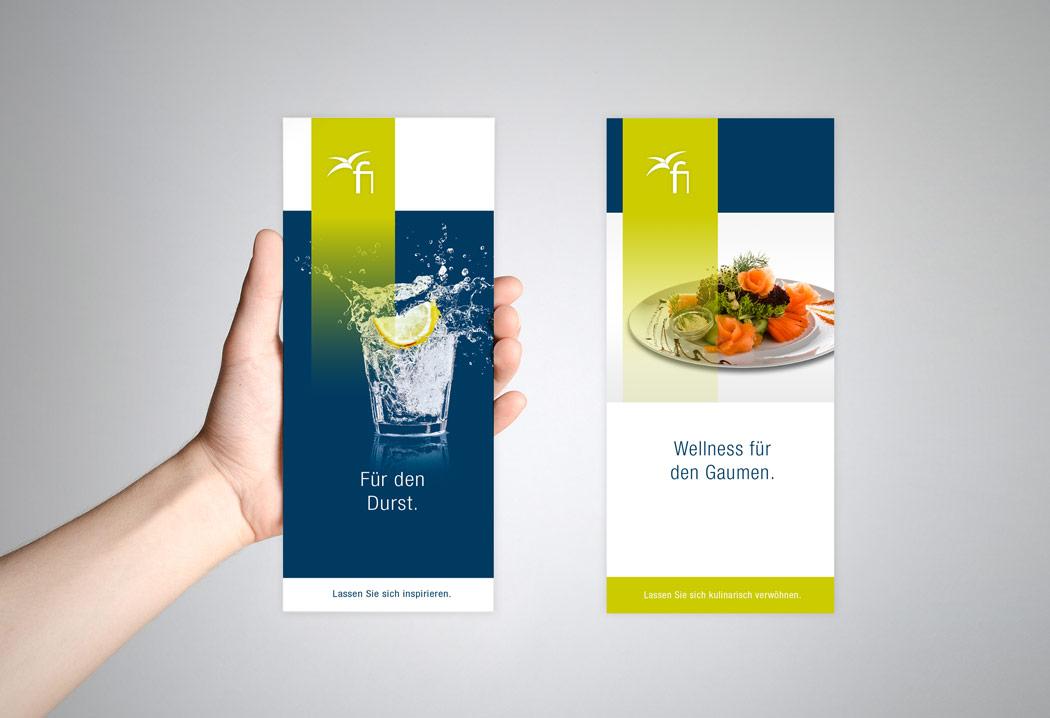 Printdesign Grafikfreelancer – Gestaltung und Layout der Menükarte für Fitness Island in Broschhofen.