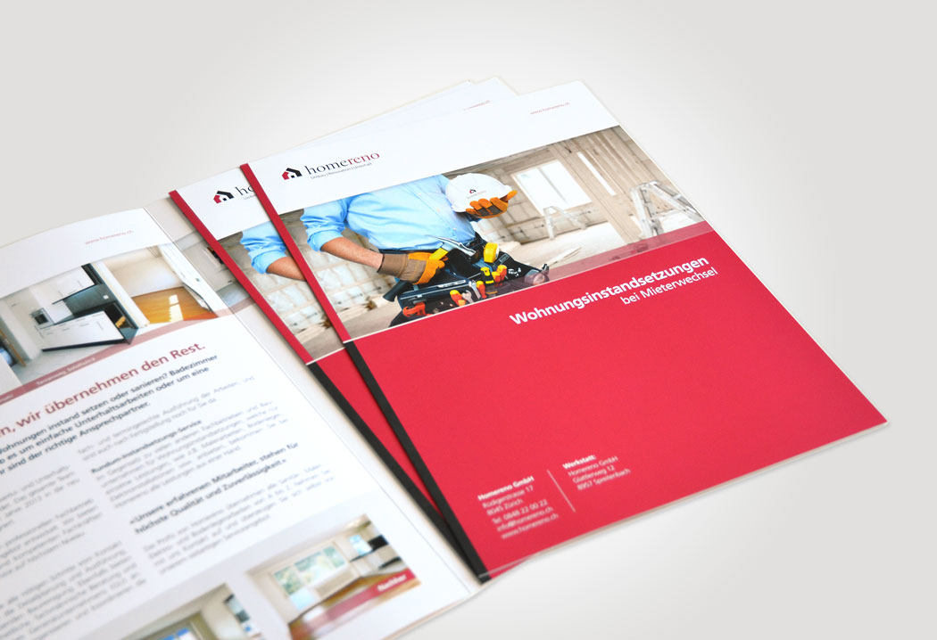 Printdesign Grafikfreelancer – Gestaltung und Konzept des Werbeprospekts für Homereno in Zürich.