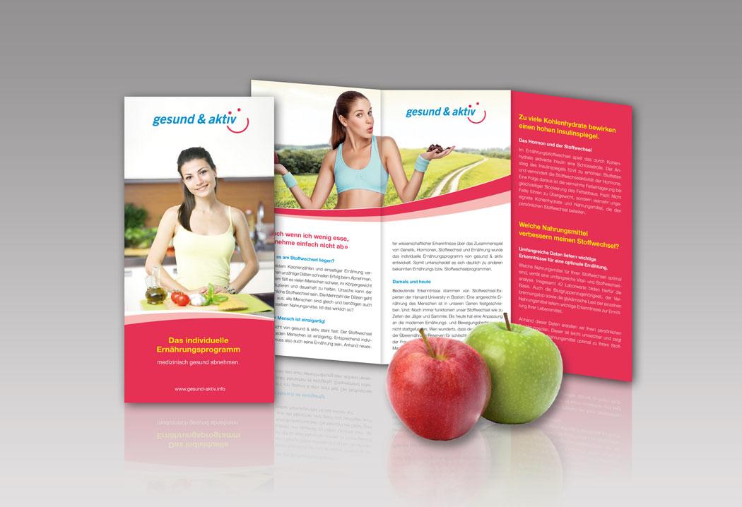 Printdesign Grafikfreelancer – Gestaltung und Layout des Werbeprospekts Gesund und Aktiv.