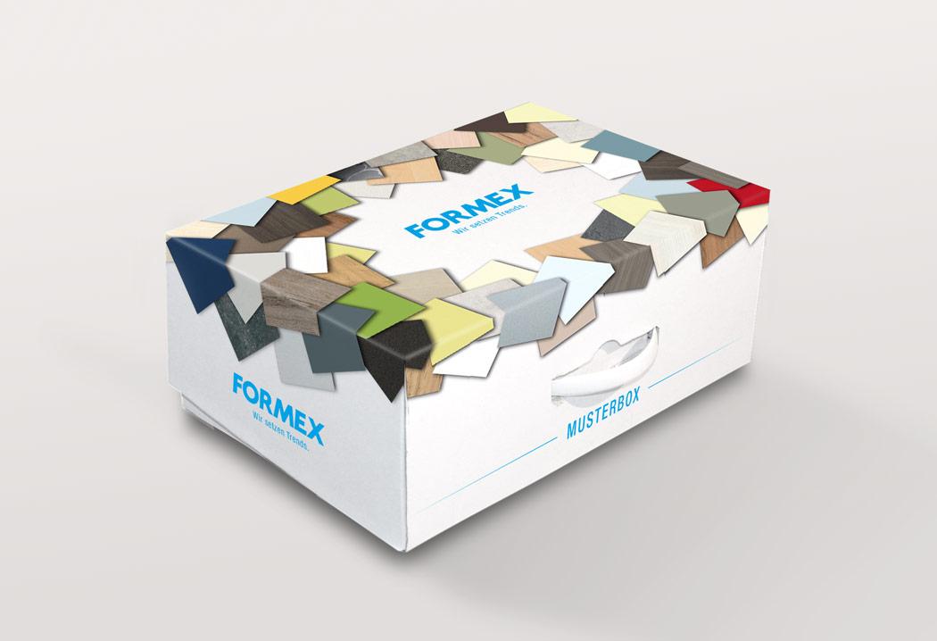 Verpackungsdesign Grafikfreelancer – Gestaltung und Design Musterbox für Formex.