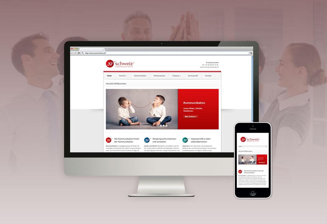 Webdesign Grafikfreelancer – Gestaltung und Realisierung des neuen Internetauftritts für 3vSchweiz.