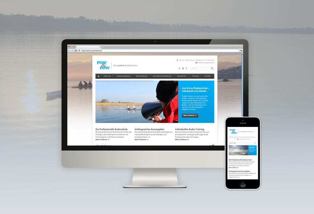Webdesign Grafikfreelancer – Neugestaltung und Konzept Webseite für die row&row Ruderschule in St.Gallen.