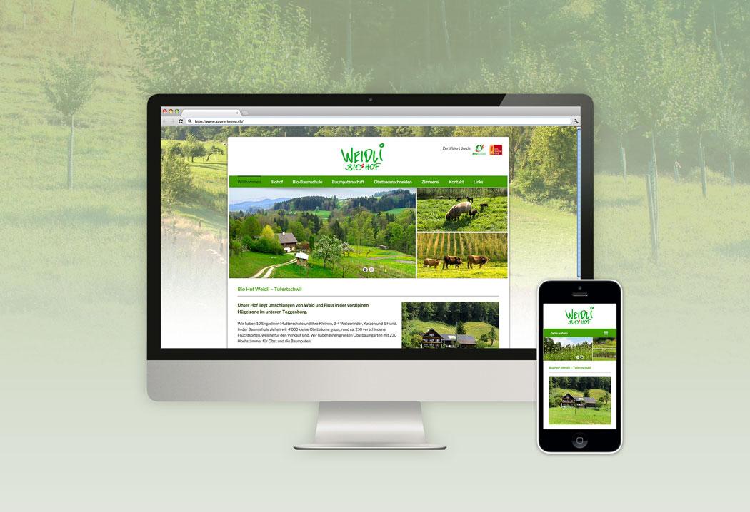 Webdesign Grafikfreelancer – Gestaltung und Realisierung neue Webseite für den Biohof Weidli in Tufertschwil.
