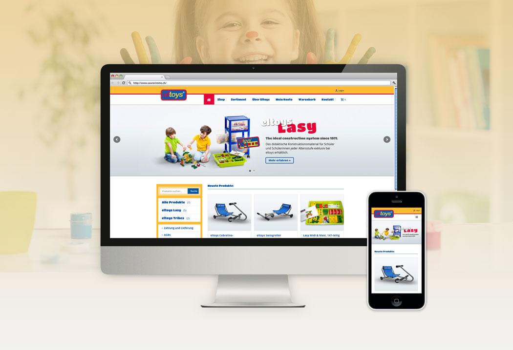 Webdesign Grafikfreelancer – Gestaltung und Erstellung Onlineshop für eltoys.