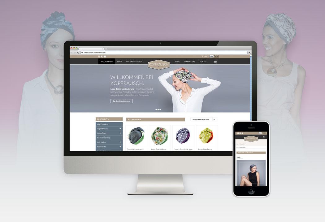 Webdesign Grafikfreelancer – Gestaltung und Erstellung des Onlineshops für Kopfrausch.