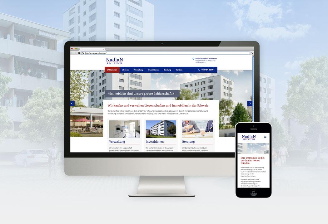 Webdesign Grafikfreelancer – Redesign und Gestaltung der neuen Website für Nadlan Real Estate in Zürich.