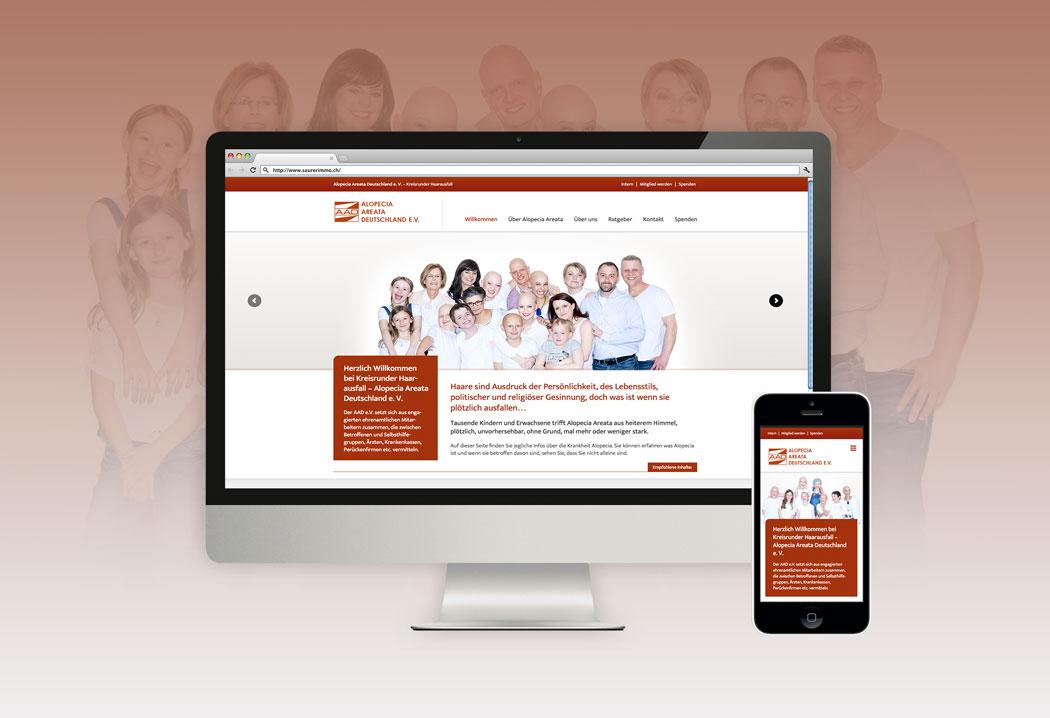 Webdesign Grafikfreelancer – Gestaltung und Erstellung Website für den Verein Alopecia Areata Schweiz und Deutschland.
