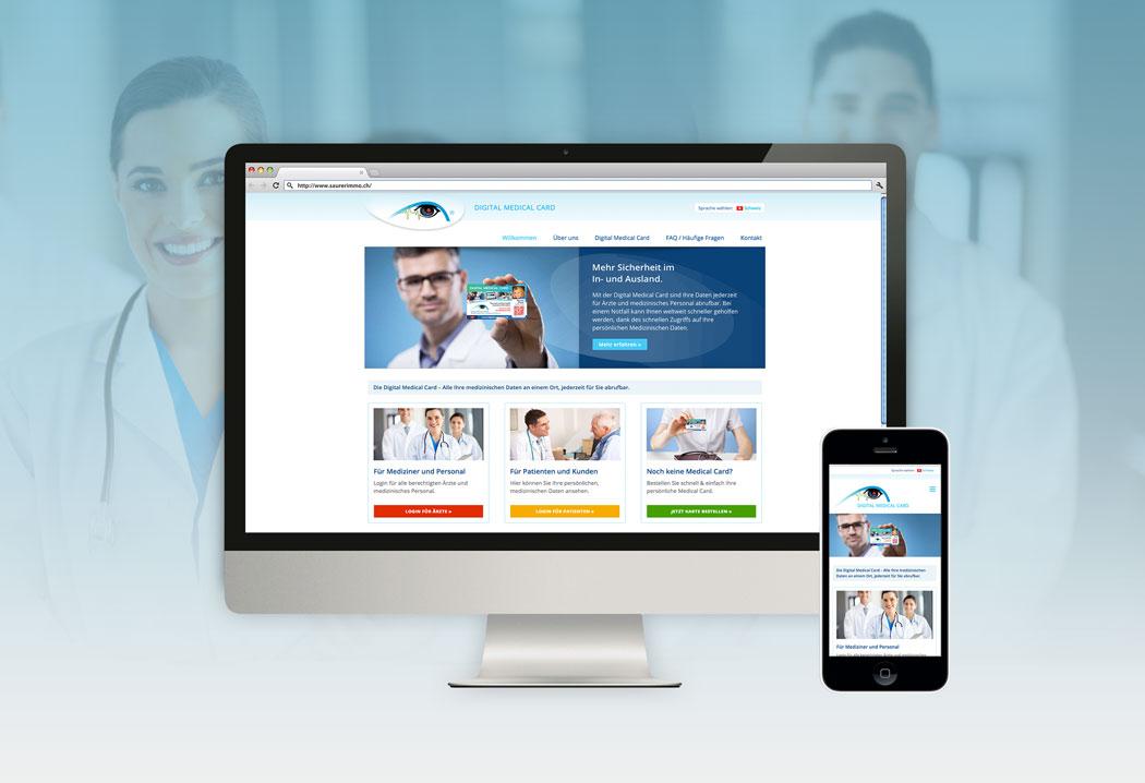 Webdesign Grafikfreelancer – Gestaltung und Konzept der Website für Digital Medical Card.