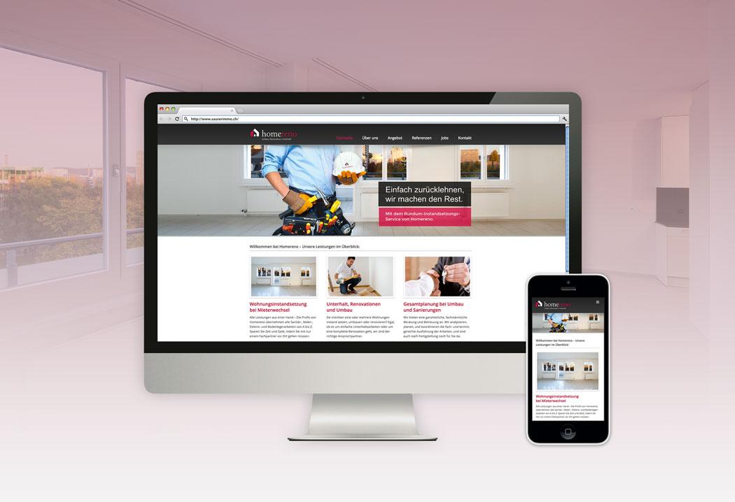 Webdesign Grafikfreelancer – Gestaltung und Erstellung der Firmenwebsite von Homereno in Zürich.