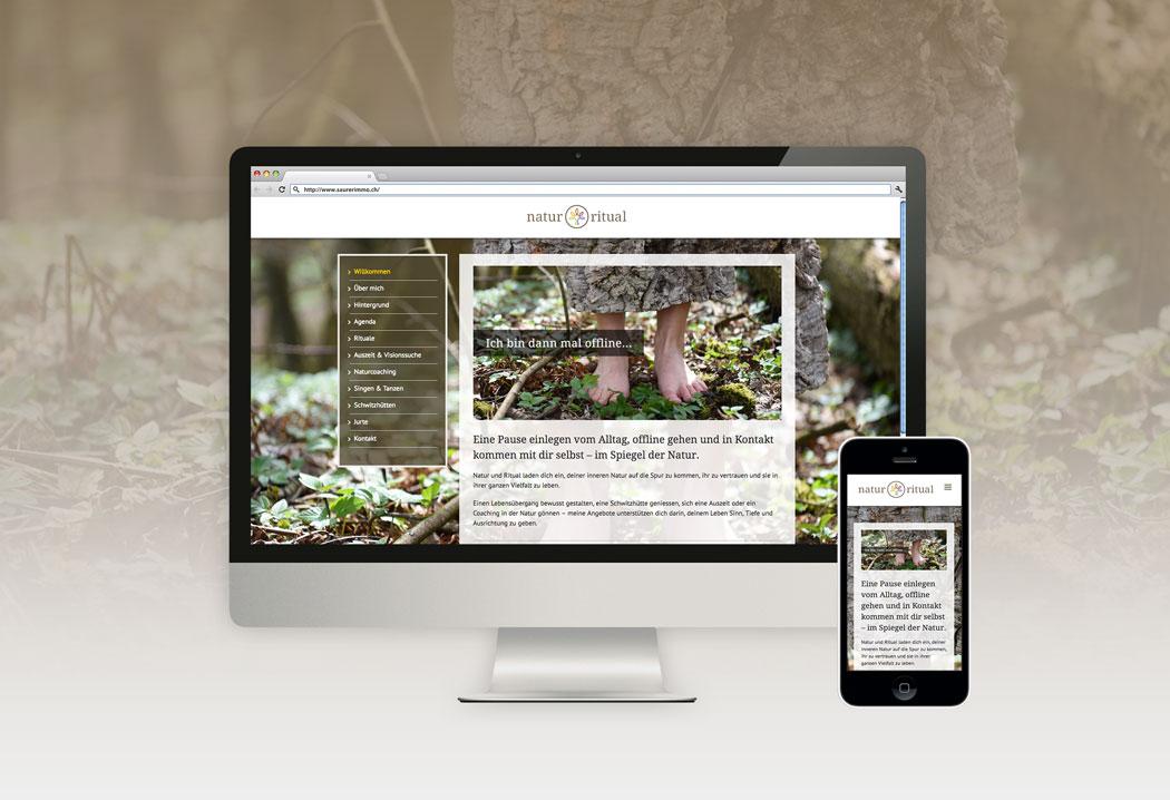 Webdesign Grafikfreelancer – Gestaltung und Erstellung Homepage für die Firma Natur & Ritual.