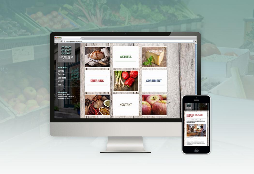 Webdesign Grafikfreelancer – Neugestaltung und Realisierung der Webseite für den Stadtladen St.Gallen.