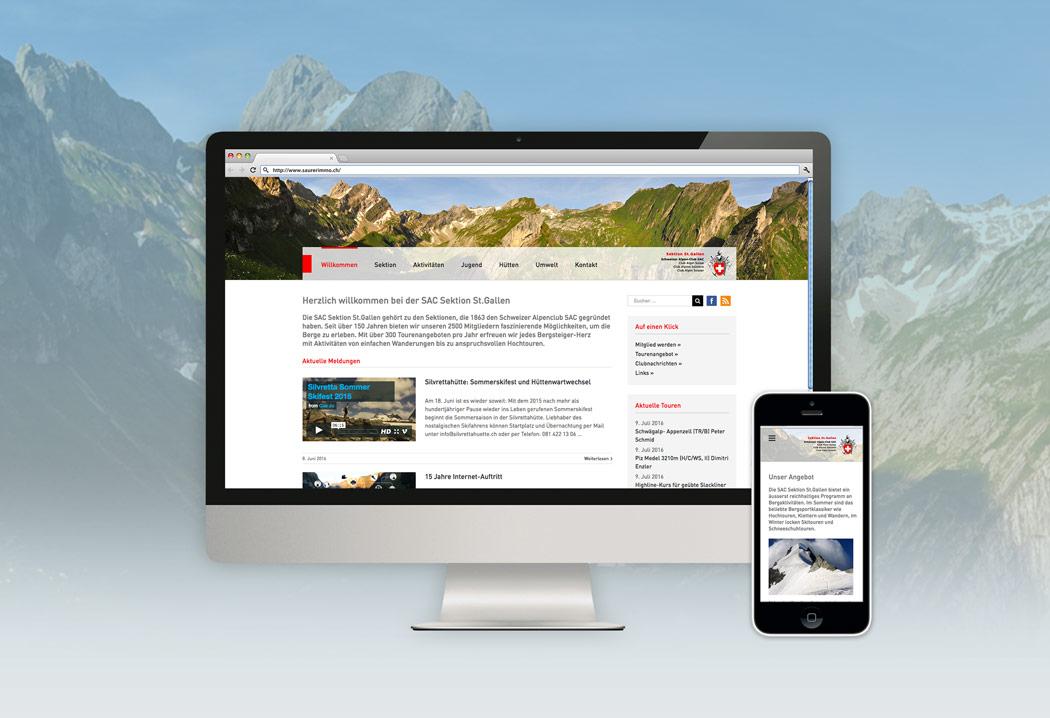 Webdesign Grafikfreelancer – Neugestaltung und Erstellung Website für den SAC St.Gallen.